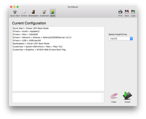 Вкладка Build в MultiBeast