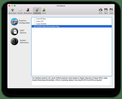 Раздел Graphics Configuration в MultiBeast