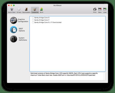 Раздел SSDT Options в MultiBeast