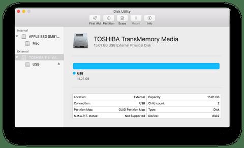 Окно дисковой утилиты macOS