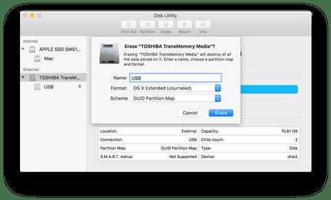 Форматирование диска в macOS